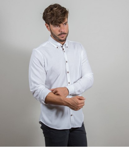 Shirt Leonardo Jersey cotton White