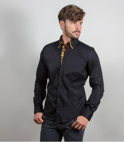Camisas Donatello popelina stretch Preto