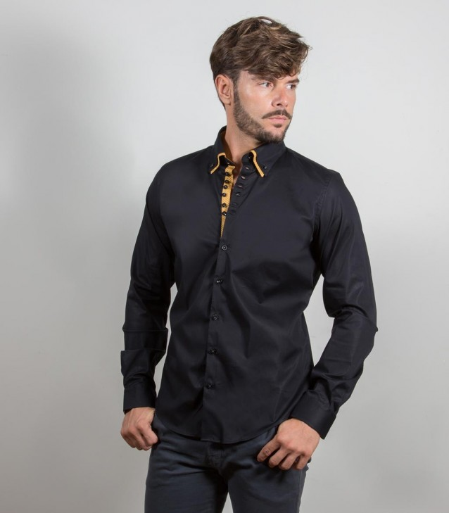 Shirt Donatello stretch poplin Black