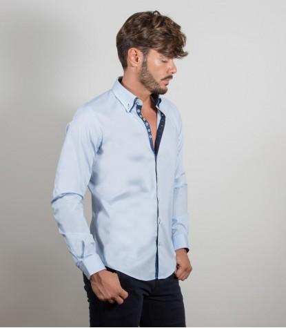 Chemises Donatello popeline extensible Bleu clair