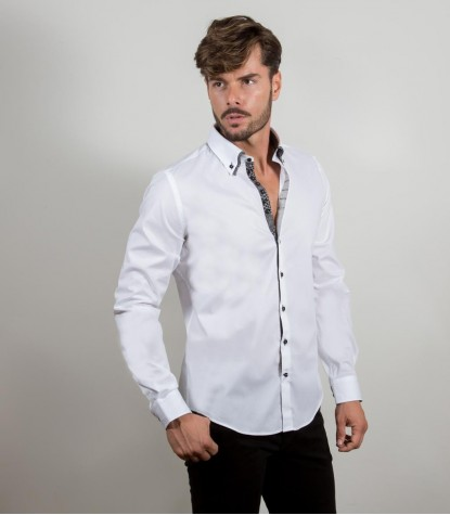 Camisas Donatello popelina stretch Branco