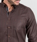 Camicia Romeo Super oxford Marrone Nero