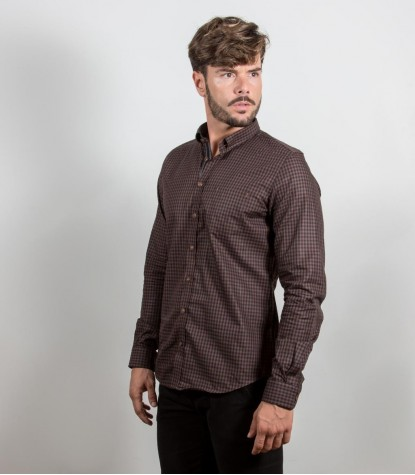 Chemises Romeo super oxford marron Noir