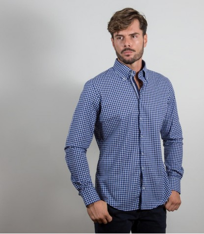 Camicia Roma Super oxford Bluette Bianco