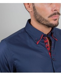 Shirt Donatello stretch poplin Blu