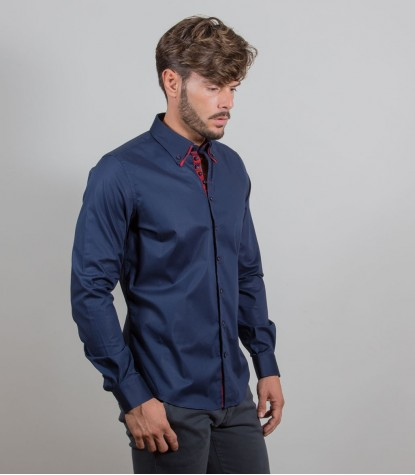 Hemden Donatello Stretch-Popeline Blau
