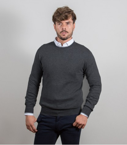 Plain Gray Cashmire Blend Crewneck Sweater