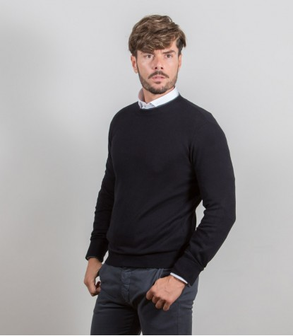 Plain Cashmire Blend Crewneck Sweater