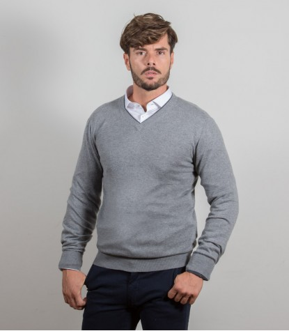 Plain Light Gray Mixed Cashmire V-Neck Sweater