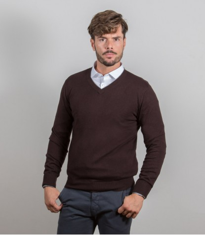 Plain Brown Cashmire Blend V-Neck Sweater