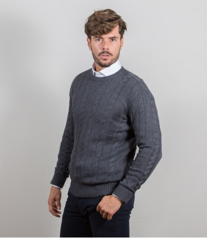 Grauer Interlaced-Pullover