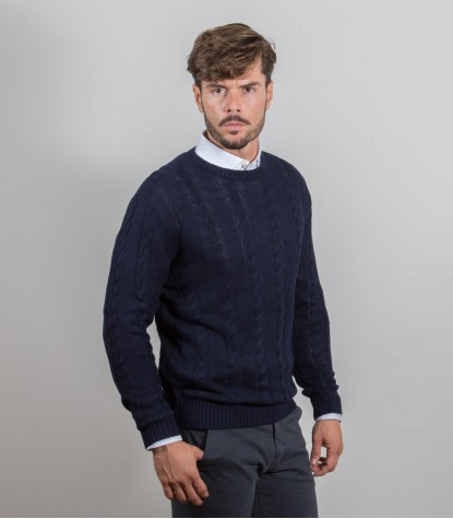 Blue Cashmire Blend Woven Round Neck Sweater