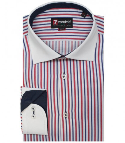 Shirt Firenze Satin RedBlue