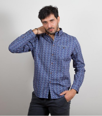 Shirt Leonardo Super oxford BlueOrange