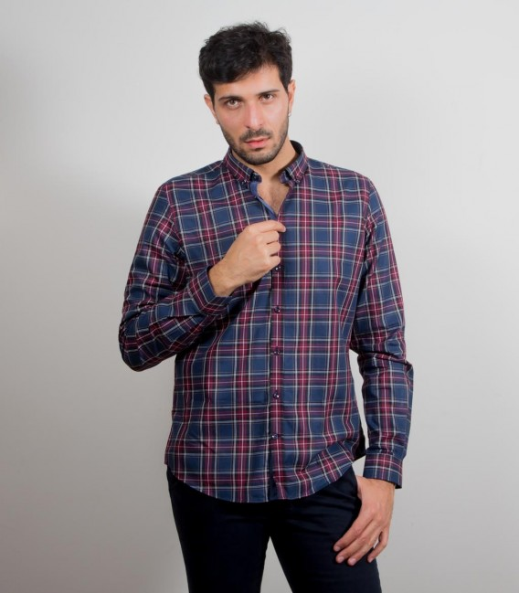 Shirt Leonardo Poplin BordeauxBlue