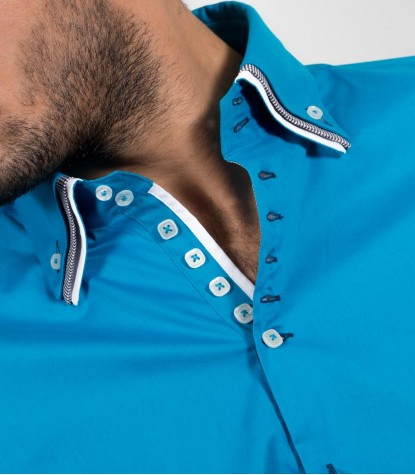 Shirt Men 2 Button stretch poplin full color Turquoise