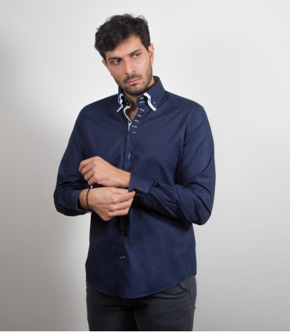 Shirt Vesuvio stretch poplin Blu