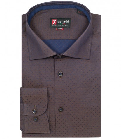 Camicia Firenze Satin Marrone Blu
