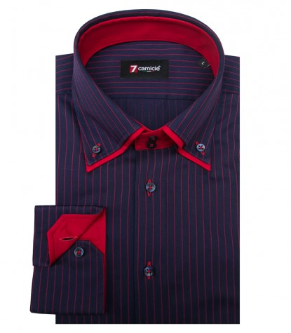 Shirt Marco Polo Satin BlueRed