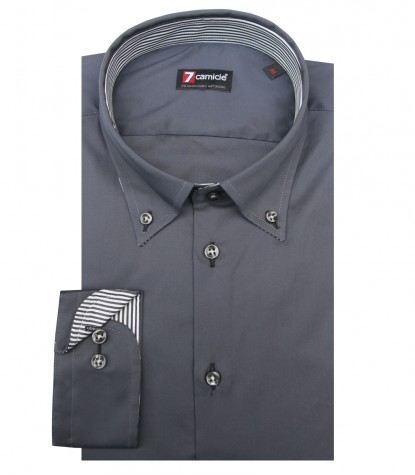 Shirt Leonardo stretch poplin Dark Grey