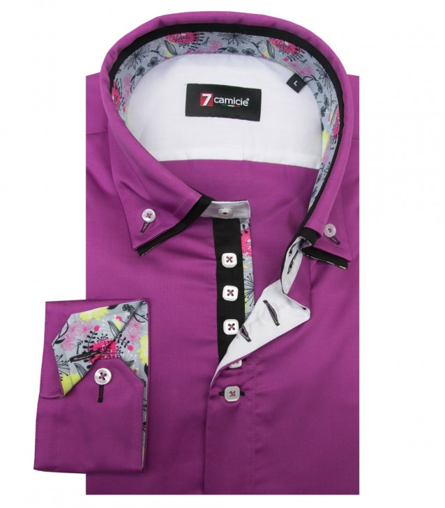 Shirt Marco Polo Satin Cyclamen Violet