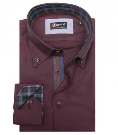 Camicia Roma Oxford Bordeaux