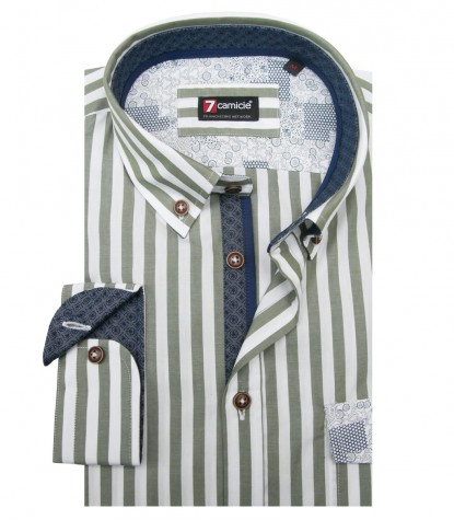 Shirt Leonardo Cotton White and Military Green