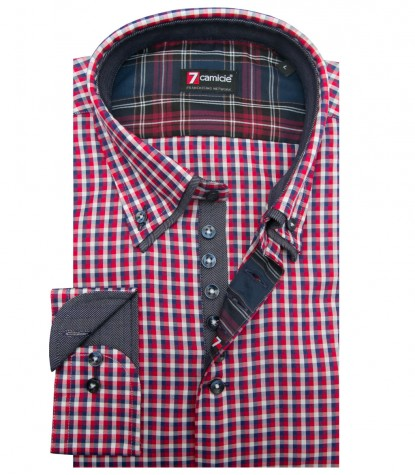 Camicia Donatello Super oxford RossoBianco
