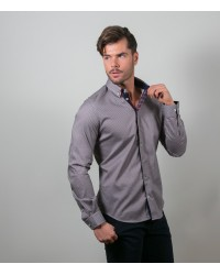 Shirt Leonardo Super oxford Light Grey and Bordeaux