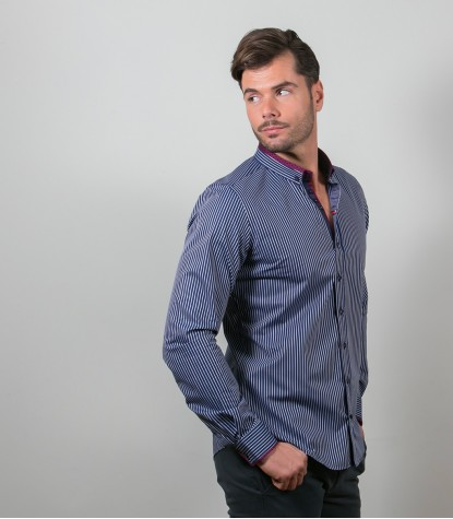 Shirt Leonardo Satin BlueWhite
