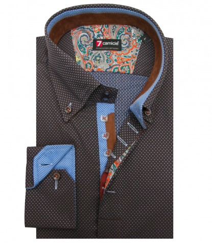 Shirt Roma jacquard Brown and Medium Light Blue