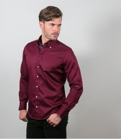 Shirt Roma Satin Red Bordeaux