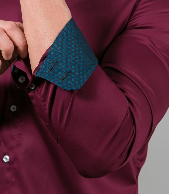 Camicia Roma Satin Bordeaux