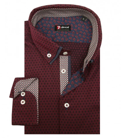 Shirt Leonardo jacquard BordeauxBlue