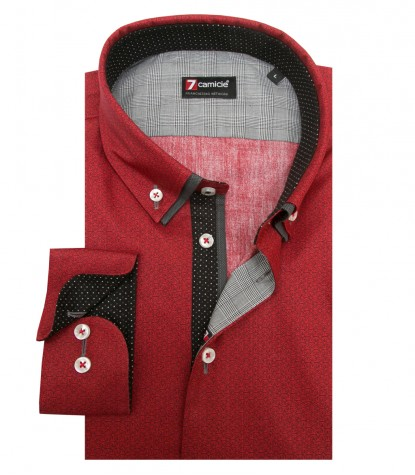 Shirt Leonardo Super oxford Brick Red and Dark Gray