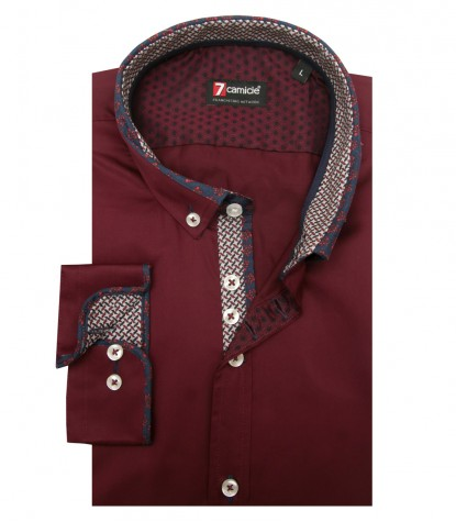 Shirt Leonardo Satin Red Bordeaux