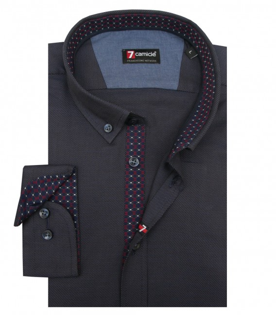 Shirt Leonardo Weaved BlueBlack