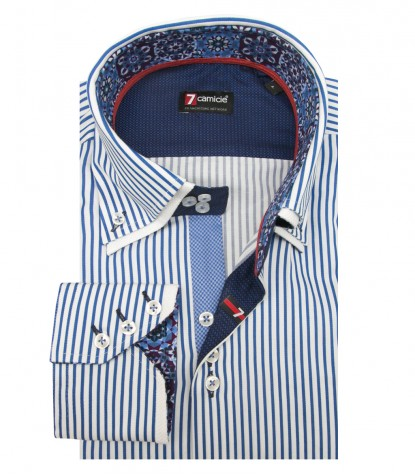 Shirt Colosseo Satin WhiteBlue