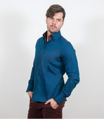 Camicia Colosseo Satin Blu Seaport