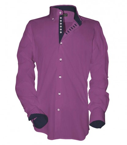 Shirt Donatello Poplin orchid and Cyclamen