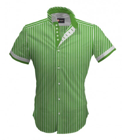 Shirt Marco Polo Poplin Light GreenWhite