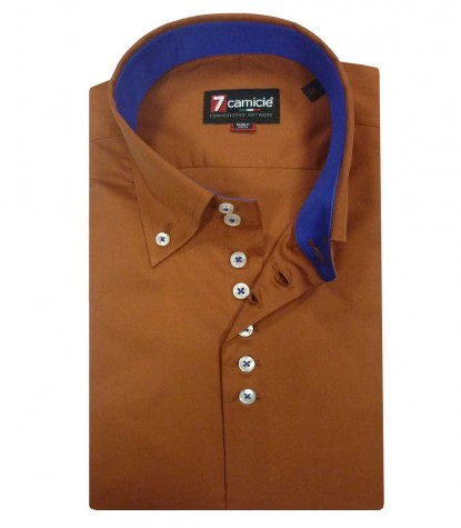 Shirt Roma stretch poplin Brick Orange