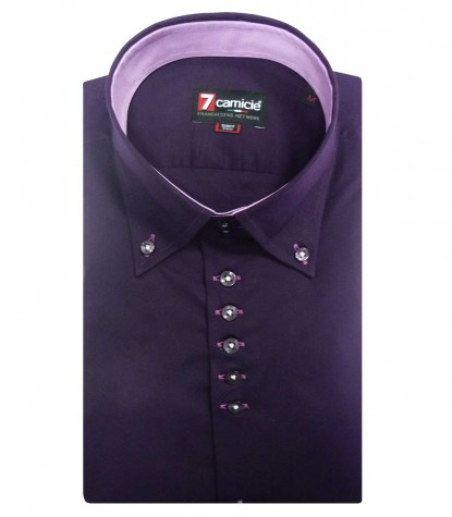 Shirt Roma stretch poplin Aubergine