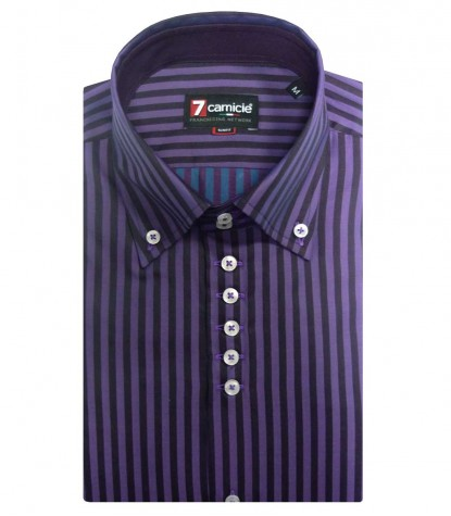 Shirt Men long sleeve 2 Button Slim Shimmering satin stripe large