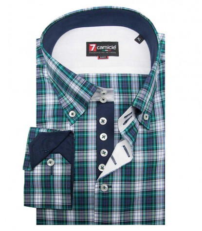 Shirt Roma Poplin Blue Green