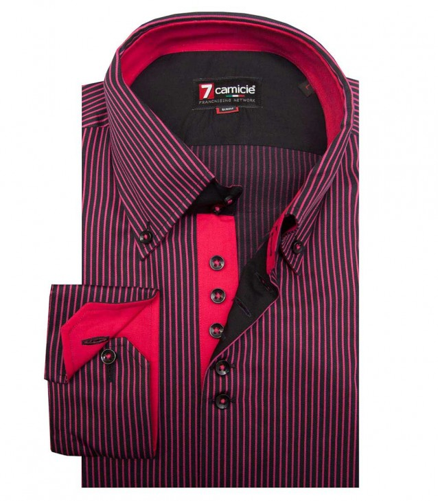 Shirt Roma Satin BlackFuchsia Pink