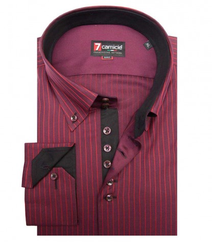 Shirt Roma Satin BordeauxRed