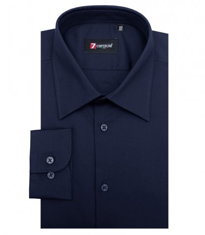 Shirt Romeo stretch poplin Blu