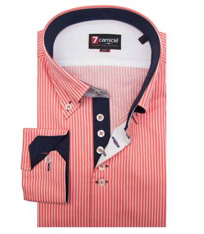 Shirt Roma Satin Coral White