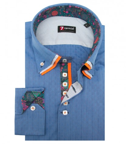 Shirt Vesuvio jacquard Light Blue Sky Blue